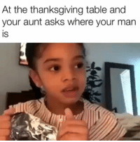 Memes, Thanksgiving, and Asks: At the thanksgiving table and  your aunt asks where your man  IS @kronismusic NoBFs