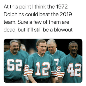 I think a team of actual dolphins could also beat the Dolphins https://t.co/uR7qDlagi8: At this point I think the 1972  Dolphins could beat the 2019  team. Sure a few of them are  dead, but it'll still be a blowout  2 12 42 I think a team of actual dolphins could also beat the Dolphins https://t.co/uR7qDlagi8