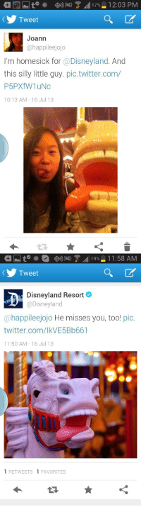 Disneyland, Twitter, and Com: at  Tweet  Joann  @happileejojo  I'm homesick for @Disneyland. And  this silly little guy. pic.twitter.com/  P5PX W1uNc  10:13 AM 16 Jul 13   Tweet  び  Disneyland Resort  @Disneyland  @happileejojo He misses you, too! pic.  twitter.com/lkVE5Bb661  11:50 AM 16 Jul 13  1 RETWEETS 1 FAVORITES