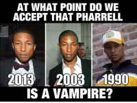 Pharrell, Tumblr, and Blog: AT WHAT POINT DO WE  ACCEPT THAT PHARRELL  2013 2003 1990  IS A VAMPIRE? epicjohndoe:  He Doesn't Believe In Aging
