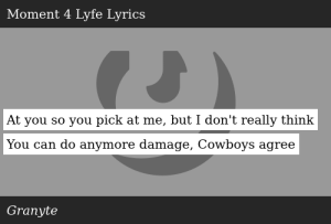 SIZZLE: At you so you pick at me, but I don't really think You can do anymore damage, Cowboys agree