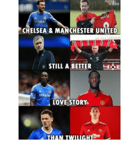 Chelsea, Memes, and Manchester United: ATA  SAMSUNG  CHELSEA & MANCHESTER UNITED  IRALEX FERGUSON  STILL A BETTER  26  SAMSUNA  LOVESTORY  THAN TWILIGHT Chelsea And manchesterunited 😳🔥😂 Follow @memesofootball