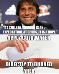 "Memes, Spurs, and 🤖: ""ATCHELSEA, WINNHNG ISAN  EXPECTATION. AT SPURS,ITISAHOPE.""  APPLY COLDWATER  DIRECTLY TO BURNED  AREA Conte with the burn😂🔥"
