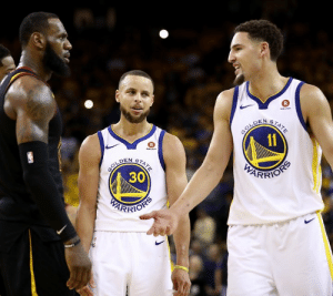 Klay has passed LeBron to become No. 3 on the all-time playoff threes list 💧  He trails only Steph and Ray Allen.: aten  GOLDEN  11  STATE  R  knen  GOLDEN  30  STATE  PARRIOSS  PEARFIOHS Klay has passed LeBron to become No. 3 on the all-time playoff threes list 💧  He trails only Steph and Ray Allen.