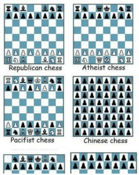 Different Types Of Chess View full ->  http://www.classy9.com/shot/4604: Atheist Chess  Republican chess  Pacifist chess  Chinese chess  AAAAAAAA AAAAAAAA Different Types Of Chess View full ->  http://www.classy9.com/shot/4604