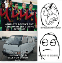 Bueno Excellente: ATHELETE DOESN'T PUT  HAND ON HEART DURING  OLYMPICS  1993 NISSAN VAN  LOW MILES FOR  SALE FOR UNDER  £400  EVERYBODY MAD  DIA OS SOLENT