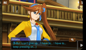 Athena, Game, and Day: Athena  (B-But I can't give up... I have to... I have to...  keep pressing on..)  Episode 4 Turnabout Storyteller  Trial Day 1  4:18 Wrong game Athena