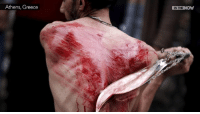 Blood, sweat and suffering:    Shia Muslims flog themselves on Holy Day of Ashora (Ashura) in MANCHESTER: Athens, Greece  IN THE  NOW Blood, sweat and suffering:    Shia Muslims flog themselves on Holy Day of Ashora (Ashura) in MANCHESTER