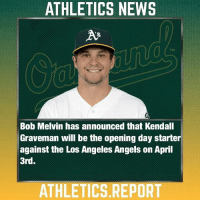 🔰News: RHP Kendall Graveman will in fact get the nod for Opening Day on April 3rd. Graveman will be followed by Manaea and Cotton, the 4-5 starter is TBA. rootedinOakland •@everything.whitesox_ •@fusion.motorsports.57 •@goldenbeargarage •@thewrigleyreport •@athleticz.edits •@Baltimore.empire •@dodgershots •@lambeezy57 🔰Tags: rootedinOakland athleticsreport Oakland oaklandathletics oaklandathleticsbaseball letsgooakland greencollarbaseball baseball news AR letsgoas GoAs atthecoliseum athletics mlb 🔰Special Info: Please feel free to leave any suggestions for more posts in the comments. As always, Go A's, and the Giants suck!: ATHLETICS NEWS  Bob Melvin has announced that Kendall  Graveman will be the opening day starter  against the Los Angeles Angels on April  3rd.  ATHLETICS REPORT 🔰News: RHP Kendall Graveman will in fact get the nod for Opening Day on April 3rd. Graveman will be followed by Manaea and Cotton, the 4-5 starter is TBA. rootedinOakland •@everything.whitesox_ •@fusion.motorsports.57 •@goldenbeargarage •@thewrigleyreport •@athleticz.edits •@Baltimore.empire •@dodgershots •@lambeezy57 🔰Tags: rootedinOakland athleticsreport Oakland oaklandathletics oaklandathleticsbaseball letsgooakland greencollarbaseball baseball news AR letsgoas GoAs atthecoliseum athletics mlb 🔰Special Info: Please feel free to leave any suggestions for more posts in the comments. As always, Go A's, and the Giants suck!