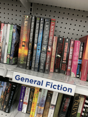 """Goodwill throwing shade at Scientology: ati  edr cost  THE  Del  FICTION  HEEGAN  DVD  WIDEO  ar  $1.99  DVD  DVD  PUBLICATIONS  $4.9  $5 99  699 U.S  (899 CAN  0-451-  40594-3  General Fiction  NATIONAL  BESTSELLER  BBC  Abr  Daughters  LAHAYE  ENKIN  evD  Altar Ego  Benjamin Ludwig  KRISTIN HANNAH  GIN  TALYN  New York Times Bestselling Author  JACK HIGGINS  EAST OF DESOLATION  AS SSINS  4UNE  MIGKLU  MENINE WICKED- CAROLYN G HARE  MORNINGS JENIN  STEPHEN HONTERADESY  OF SPIES  .  SUS  ABULH  EVERLY LEWIS  Fh Prodi  BLACK ATHOMAS  SUNDAY HARRIS  ST  .  THE NEW YORK TIMES BESTSELLER  NANOSLUSK JAGK HCGINS  HANNA JINDSEY PRISCONER MYDE  L.RON HUBBARD  EORIGINAL THESI  The Sunroom  Bevery Beni's  ANEW SLANT ON LIFE  THE GIRL WITH  L.RON HUBBARD  THE DRAGON TATTOO  STIEG LARSSON  LAURA  SCIENTOLOGY  LIPPMAN  NU GOOD DEEDS  L. RON HUBBARD  THE FUNDAMENTALS OF THOUGHT  EEVOLUTION SCIENCE  YEAR ZEROJEFE  L. RON HUBBARD  LONG  TEPROBLEMS OF WORK  ERIC LUSTBADER  FLOATING CITY  L. RON HUBBARD  L.RON HUBBARDCDIANETICS  planet earth  a yB en ver seen it before  """"OMEN  FRIDAY NIGHT LIGHTS  THE LAST STAND  QUESTA SACAGAWEA  o a's and  SHE'S OUT OF MY LEAGUE  GREA  SAL  SALL TV  UNRATED  DIRECTOR'S CUT  SPECIAL GUY TH  EDITION Goodwill throwing shade at Scientology"""