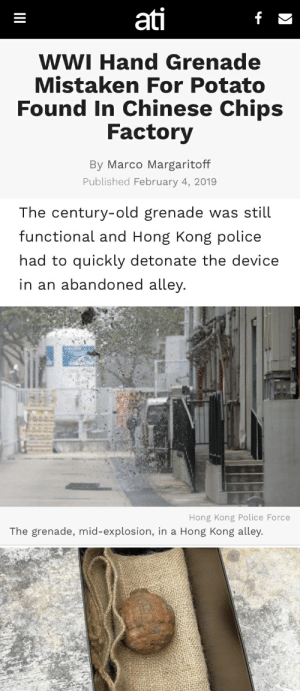 Forbidden Potato!: ati  WWI Hand Grenade  Mistaken For Potato  Found In Chinese Chips  Factory  By Marco Margaritoff  Published February 4, 2019   The century-old grenade was still  functional and Hong Kong police  had to quickly detonate the device  in an abandoned alley  Hong Kong Police Force  The grenade, mid-explosion, in a Hong Kong alley. Forbidden Potato!