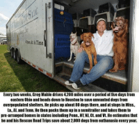 http://t.co/TLRu4cx7Dp: ATime  Every two weeks, Greg Mahle drives 4,200 miles over a period of five days from  eastern Ohio and heads down to Houston to save unwanted dogs from  overpopulated shelters. He picks up about 80 dogs there, and at stops in Miss,  La Al. and Tenn. He then packsthem up in a semitrailer and takes themto  pre-arranged homesin states including Penn, NY NJ, Ct. and Vt. He estimates that  he and his Rescue Road Trips save about 2,000 dogs from euthanasia every year. http://t.co/TLRu4cx7Dp