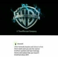 Memes, Beastly, and 🤖: ATime Warner Company  mcscott  when fantastic beasts and where to find  them starts and you see the warner  brothers symbol and hear hedwigs  theme and realize that you haven't  breathed since 2011 :') <3  Lady Snape