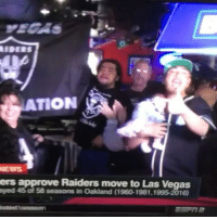 This dude has a new born baby in the bar celebrating raiders move to Vegas at 11:30 AM. 😱 LASVEGAS RAIDERS FANS ARE ALREADY LIT🔥🔥🔥: ATION  ers approve Raiders move to Las Vegas  ayed o 58 seasons in Oakland (1960-1981,1995-2016) This dude has a new born baby in the bar celebrating raiders move to Vegas at 11:30 AM. 😱 LASVEGAS RAIDERS FANS ARE ALREADY LIT🔥🔥🔥