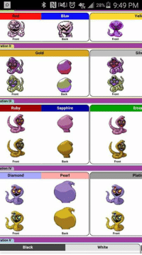 ation  Gold  Front  ation III  Ruby  ation  IV  Diamond  ation V  Black  Blue  Sapphire  Pearl  Back  28%2 9:49 PM  Yell  Silv  Front  Emer  Plati  Front  White There are actually people complaining about Alola forms  But Arbok has been changing every single generation  -Roach