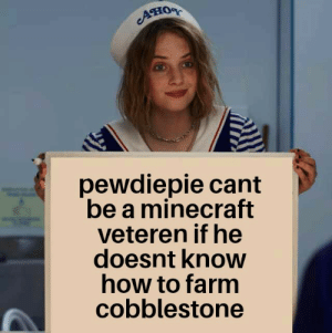 Meme, Minecraft, and How To: ATIOR  pewdiepie cant  be a minecraft  veteren if he  doesnt know  how to farm  cobblestone An original meme