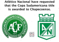Amazing gesture from Atletico Nacional, throughout these tragic times.. 😢❤️ ForçaChape: Atlético Nacional have requested  that the Copa Sudamericana title  is awarded to  Chapecoense.  1973  CHAPECO Amazing gesture from Atletico Nacional, throughout these tragic times.. 😢❤️ ForçaChape