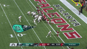 .@cj_wentz sneaks in to give the @Eagles their first lead of the game! #FlyEaglesFly  📺: #PHIvsATL on NBC 📱: NFL app // Yahoo Sports app Watch on mobile: https://t.co/Pa6E6lQGVa https://t.co/daKXL869ET: ATLANTA  1st&  GOAL  :03  4th 3:16  PHI 12  0-1 ATL 17  1-0  EONE .@cj_wentz sneaks in to give the @Eagles their first lead of the game! #FlyEaglesFly  📺: #PHIvsATL on NBC 📱: NFL app // Yahoo Sports app Watch on mobile: https://t.co/Pa6E6lQGVa https://t.co/daKXL869ET