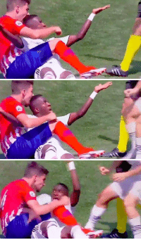 Crazy, Head, and Soccer: Atletico Madrid B player took a bite into Vinicius Jr's head in the mini Madrid derby... This is crazy 😂😂😂 https://t.co/PqKTz3gRB9