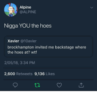 Atpine  @ALPINE  Nigga YOU the hoes  Xavier @10avier  brockhampton invited me backstage where  the hoes at? wtf  2/05/18, 3:34 PM  2,600 Retweets 9,136 Like:s