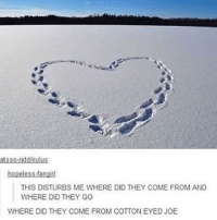 Cotton Eyed Joe: atsso-riddikulus:  hopeless fangid  THIS DISTURBS ME WHERE DID THEY COME FROM AND  WHERE DID THEY GO  WHERE DID THEY COME FROM COTTON EYED JOE
