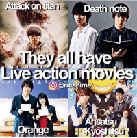 Memes, Death Note, and 🤖: Attack on  Death note  They all have  actio  nim  orange QOTD: Have you seen any of these? | Follow @ruianime for Anime Facts | ⭐️
