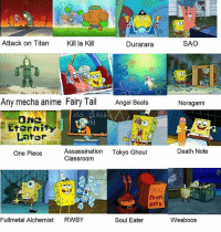 ill never not love spongebob comparison memes -arina - edit: how do u guys not know what RWBY is im: Attack on Titan  Kill la Kill  Durarara  Any mecha anime Fairy Tail Angel Beats  ASS CLASS  One  Eternity  Later  Assassination  Tokyo Ghoul  One Piece  Classroom  KRAB  Fullmetal Alchemist  RWBY  Soul Eater  SAO  Noragami  Death Note  Weaboos ill never not love spongebob comparison memes -arina - edit: how do u guys not know what RWBY is im