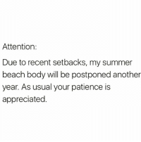 Coming soon...and by soon I mean 2023😉😉 repost from my fave account @scousebarbiex @scousebarbiex @scousebarbiex: Attention:  Due to recent setbacks, my summer  beach body will be postponed another  year. As usual your patience is  appreciated. Coming soon...and by soon I mean 2023😉😉 repost from my fave account @scousebarbiex @scousebarbiex @scousebarbiex