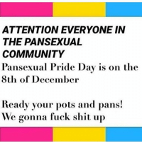 Happy Pansexual Pride day all of my pan friends and followers! 😄-Tate: ATTENTION EVERYONE IN  THE PANSEXUAL  COMMUNITY  Pansexual Pride Day is on the  8th of December  Ready your pots and pans!  We gonna fuck shit up Happy Pansexual Pride day all of my pan friends and followers! 😄-Tate