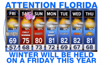 LOL! Is this how it is? :-D: ATTENTION FLORIDA  FRI  SA SUN MON TUE WED THU  10%  40%  20%  30%  20  10  CHILLY  RAIN  BREEZY  MORNING  BREEZY  WINDY  WARM SUNNY  ZROWERS 69 75 80 81 82 82 81  7 68 i 73 72 69 67 68  WINTER WILL BE HELD  ON A FRIDAY THIS YEAR LOL! Is this how it is? :-D