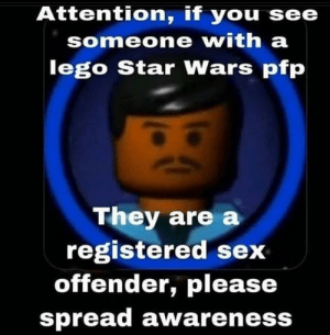 Attention If You See Someone With A Lego Star Wars Pfp They Are A Registered Sex Offender Please Spread Awareness Please Spread Awareness I Know This Is Common Which Is Quite Frightening