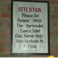 Memes, Savage, and Patient: ATTENTION  Please Be  Patient With  The Bartender  Even a Toilet  Can Serve Only  One Asshole At  Time. Savage 😂🤣 https://t.co/Y2p93Knf8M