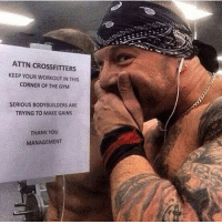 TAG a crossfitter 😂😭 . @DOYOUEVEN 👈🏼 10% OFF STOREWIDE + NEW RELEASE! 🎉 use code DYE10 ✔️ link in BIO: ATTN CROSSFITTERS  KEEP YOUR WORKOUT IN THIS  CORNER OF THE GYM  SERIOUS BODYBUILDERS ARE  TRYING TO MAKE GAINS  THANK YOoU  MANAGEMENT TAG a crossfitter 😂😭 . @DOYOUEVEN 👈🏼 10% OFF STOREWIDE + NEW RELEASE! 🎉 use code DYE10 ✔️ link in BIO