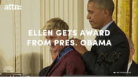 Ellen DeGeneres just broke down in tears while the president awarded her the Presidential Medal of Freedom.: attn:  ELLEN GETS AWARD  FROM PRES. OBAMA  WHITEHOUSE/GOV Ellen DeGeneres just broke down in tears while the president awarded her the Presidential Medal of Freedom.