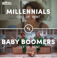 Abc, Disney, and Memes: attn:  MILLENNIALS  COST OF RENT  21  BABYBOOMERS  coST OF RENT  (2014)  BLACK-ISH DISNEY ABC DOMESTIC TELEVTSION C2014) The difference between rent in the baby boomer era versus today is outrageous.