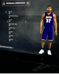 Ass, Memes, and World: Attributes: Athleticism  (a  Boxout  42  Lateral Quickness  Speed  37  64  Speed With Ball  62  Acceleration  67  Vertical  58  Strength  62  Stamina  75  OR tate Player O Bock Next up is Metta World Peace. The last thing this guy represents is peace😂😂😂 He was a violent ass mofo so it only makes sense to give him 99 hands and 99 strength 😂😂😂😂😂