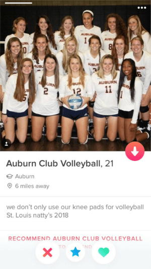 Club, Auburn, and St Louis: AUBUR  AUBU  URN  AUBU  AUB  URN  6  AUBURN  DBUR  Auburn Club Volleyball, 21  Auburn  6 miles away  we don't only use our knee pads for volleyball  St. Louis natty's 2018  RECOMMEND AUBURN CLUB VOLLEYBALL  TO  ND please
