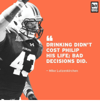 Driving, Sports, and Auburn: AUBURN  TIGER  b/r  MAG  DRINKING DIDN'T  COST PHILIP  HIS LIFE: BAD  DECISIONS DID.  Mike Lutzenkirchen BRmag takes you inside the final hours of former Auburn TE Philip Lutzenkirchen's life before he was killed in a drunken driving accident, and how students are learning from his decisions. (Link in bio)