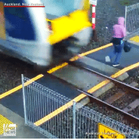 Crazy, Memes, and News: Auckland, Ne  Zealand  NEWS Crazy Video: Auckland Transport is appealing for pedestrians to be more aware of its new electric trains, following one woman's extremely narrow escape. The trains, it says, are quieter than those they have replaced, making it all the more important for people to pay attention at level crossings.