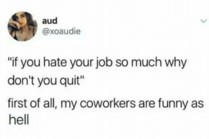 "They can make it or break it.: aud  @xoaudie  if you hate your job so much why  don't you quit""  first of all, my coworkers are funny as  hell They can make it or break it."