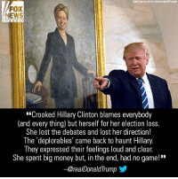 "If anyone thought President Donald J. Trump would remain silent regarding Hillary Clinton's new book, they guessed wrong.: Auda Guarruccpicture-alliarce/dpa/AP Images  FOX  NEWS  channe  ""Crooked Hillary Clinton blames everybody  (and every thing) but herself for her election loss.  She lost the debates and lost her direction!  The 'deplorables' came back to haunt Hillary.  They expressed their feelings loud and clear  She spent big money but, in the end, had no game!""  -@realDonaldTrump步 If anyone thought President Donald J. Trump would remain silent regarding Hillary Clinton's new book, they guessed wrong."