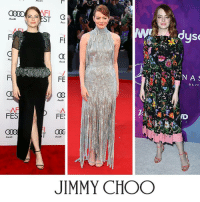 Jimmy Choo, Memes, and Emma Stone: Audi  Aud  FES  Aud  ST  Aud  FE  Audi  FE  Aud  JIMMY CHOO  N A  BEVE  ND We love style maverick Emma Stone's take on the quintessential Jimmy Choo minimal strappy sandal.   See who else has been wearing Jimmy Choo at  http://bit.ly/Jc_Spotted