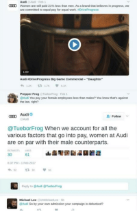 """Dank, 🤖, and Frog: Audi  Women are still paid 21% less than men. As a brand that believes in progress, we  are committed to equal pay for equal work. ADriveProgress  1:00  Audi NDriveProgress Big Game Commercial Daughter""""  Prepper Frog  lebonFrog Feb 1  @Audi You pay your female employees less than males? You know that's against  the law, right?  Aud  Follow  Audi  @Tuebor Frog When we account for all the  various factors that go into at Audi  are on par with their male counterparts.  61  37 PM-1 Feb 2017  Reply to @Audi @TueborFrog  Michael Lee  UAMichaelLee Sh  Audi So by your own admission your campaign is debunked? (M.P.) When you debunk your own ad campaign."""