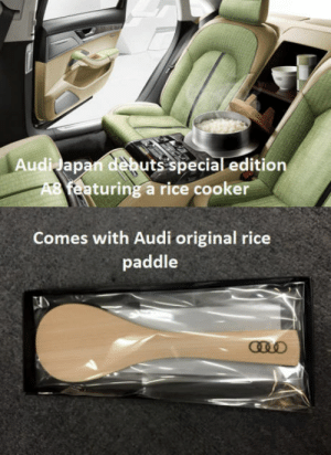 Never nuke a country twice: Audidap  uts special editiorn  turing a rice cooker  Comes with Audi original rice  paddle Never nuke a country twice