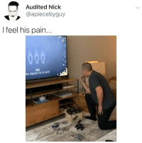 Funny, Shit, and Game: Audited Nick  @apiecebyguy  l feel his pain.  AV  No signal (is it on?) If you up rn, what game would you be playing on this at this hour 🧐 007 was my shit 🤠 @larnite • Don't scroll by without dropping that sack 💰 • ➫➫➫ Follow @Staggering for more funny posts daily!