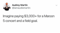 Imagine..😩: Audrey Martin  @iamaudiemartin  lmagine paying $3,000+ for a Marodon  5 concert and a field goal. Imagine..😩