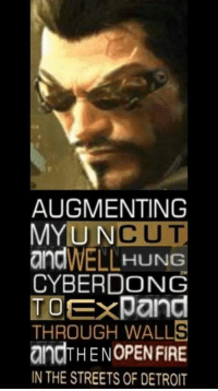 dong: AUGMENTING  MY UN  CUT  WELL HUNG  CYBERDONG  TOExpand  THROUGH WALLS  andTHENOPENFIRE  IN THE STREETS 0F DETROIT