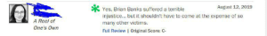 Tumblr, To Kill a Mockingbird, and Banks: August 12, 2019  Yes, Brian Banks suffered a terrible  injustice... but it shouldn't have to come at the expense of so  A Reel of  many other victims.  One's Own  Full Review | Original Score: C How dare Brian Banks tell his story. Also isn't about time we ban To Kill A Mockingbird as well?