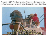 Hope, Last Words, and Rice: August, 1945: The last words of the co-pilot moments  before he would unleash total destruction on Hiroshima  HOPE THESE RICE  PEOPLE LIKE MUSHROOMS The bombing of Hiroshima and Nagasaki (1945)