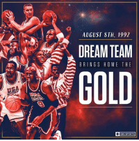 25 years ago today, the Dream Team won gold. And of course they did.: AUGUST STH, 1992  DREAM TEAM !  BRINGS HOME THE  GOLD  ○】 CBS SPORTS 25 years ago today, the Dream Team won gold. And of course they did.
